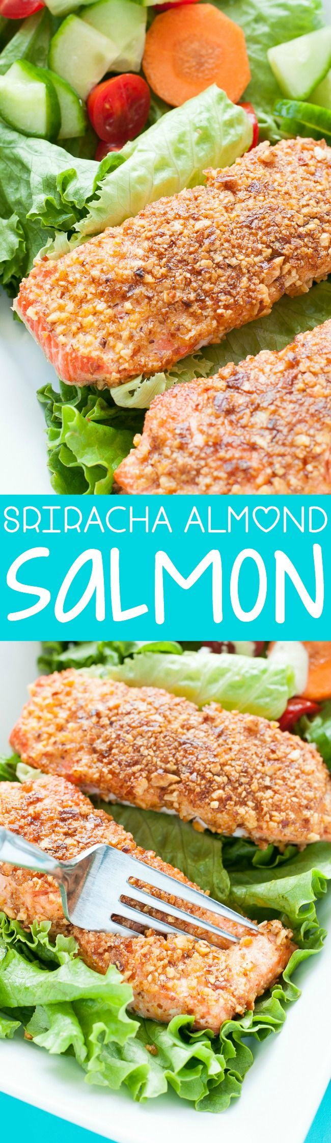Sriracha Almond Salmon - a tasty weeknight dinner. Quick, easy, and healthy too!