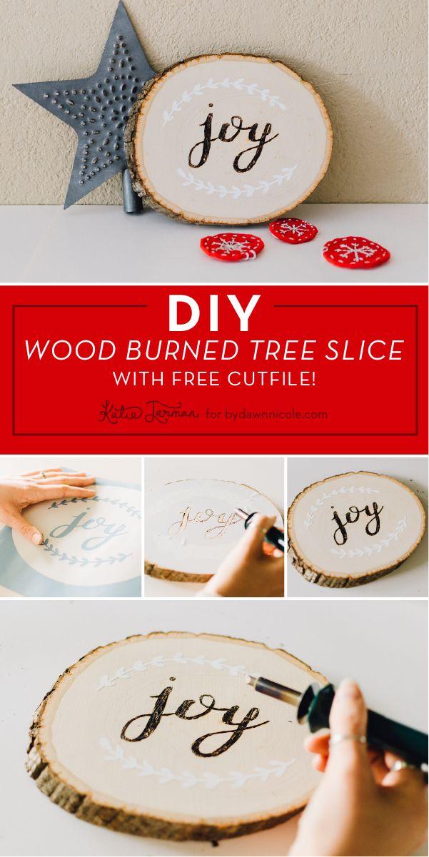 "DIY Wood Burned ""Joy"" Tree Slice with Free SVG. KatieJarman.com for Dawn Nicole Designs"