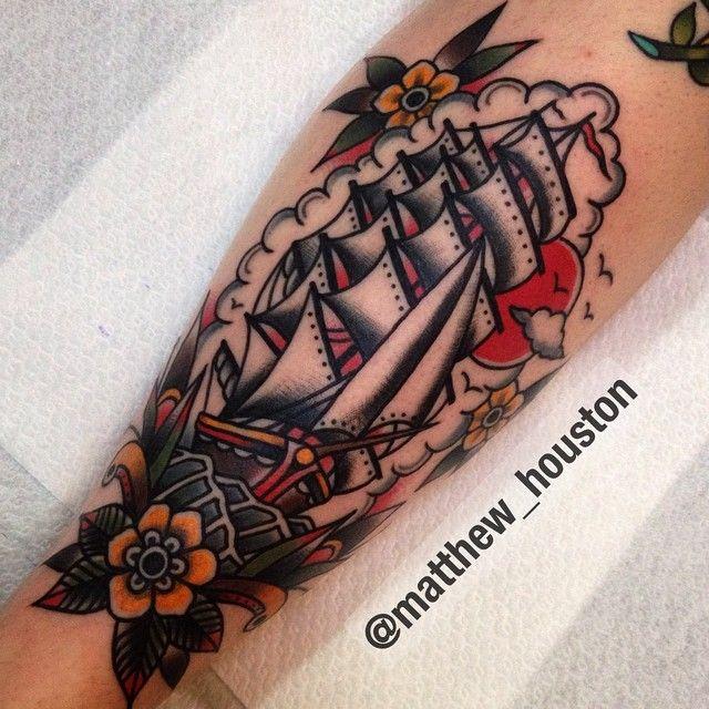 Kick start 2015 with this custom clipper on Debbie #walkin #clipper #ship #traditional #tattoo @salonserpenttattoo