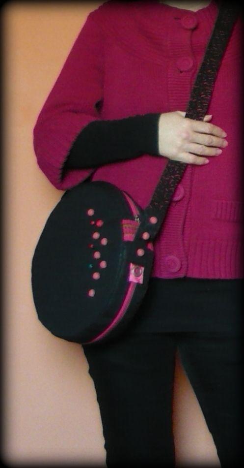 Handmade by Judy Majoros - Beaded round crossbody bag- shoulder bag. Recycled bag. Black-pink