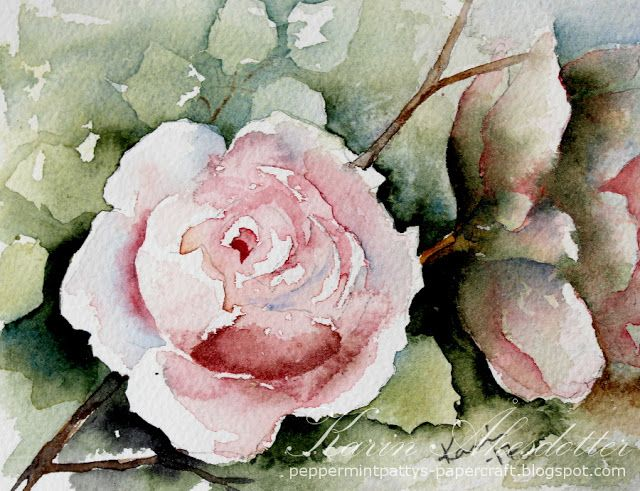 Sunday Watercolors : Rose For more info: I share my creative projects here: https://www.instagram.com/peppermintpatty42/ and on my blog: http://peppermintpattys-papercraft.blogspot.se and on pinterest; https://www.pinterest.se/peppermint42/my-watercolors/