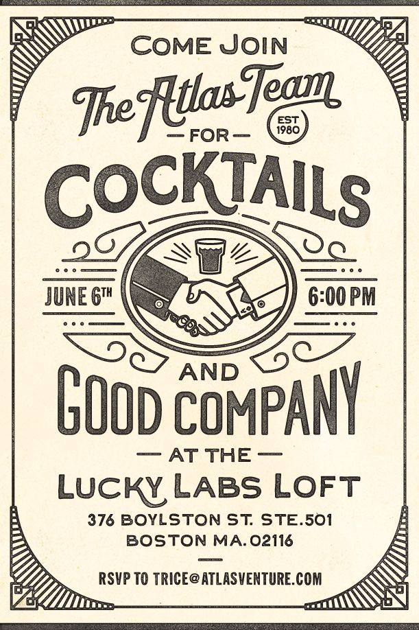 Atlas Cocktail Party Invitation - CommonerInc #design    Type for label  www.cartelpoker.com