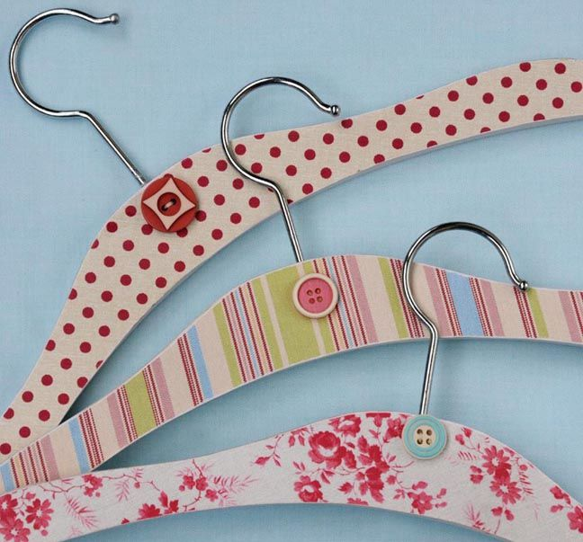 vintage inspired scrapbook paper and children's wooden hangers