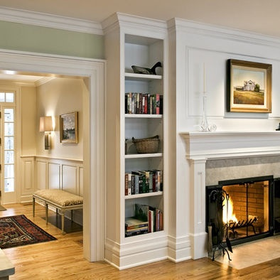 Wainscot foyer design molding and crown over fireplace for Living room wainscoting ideas