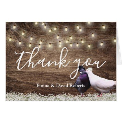 #Lovebirds & String Lights Rustic Wedding Thank You Card - #wedding gifts #marriage love couples