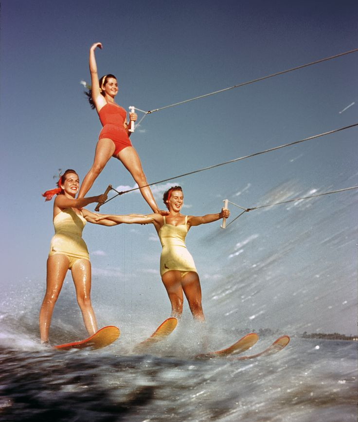 1957: Photos, Girl Pyramid, Summer, Cypress Gardens, Water Skiing, Beach, Three Girl, Vintage Photo