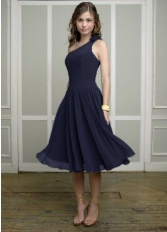 One shoulder sleeveless navy chiffon A-line pleated flower tea-length Bridesmaid Dress BD251131