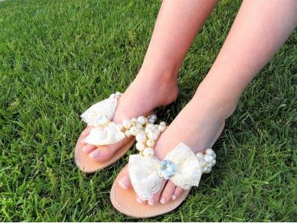 Pearl Slippers with Lace Bow