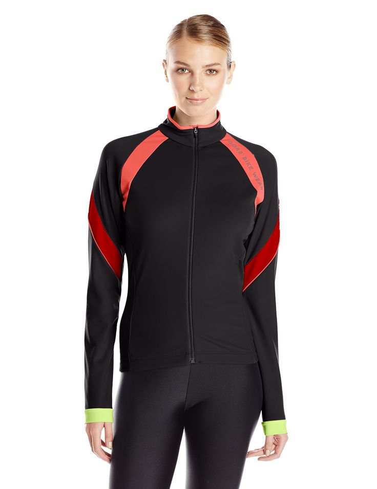 Gore Bike Wear Women's Power 2.0 Thermo Lady Jersey, Black/Red, Large. Colorful road cycling thermo jersey with front full-zip. Brushed inside, four back pockets and many neon details for the ambitious female road cyclist. Ideal as a mid-layer underneath jacket or vest. Slim fit. 3-compartment patch pockets on back. Small, zipped pocket on back. Full length zip with semi-lock slider. Zip-underflap. Close fit collar.