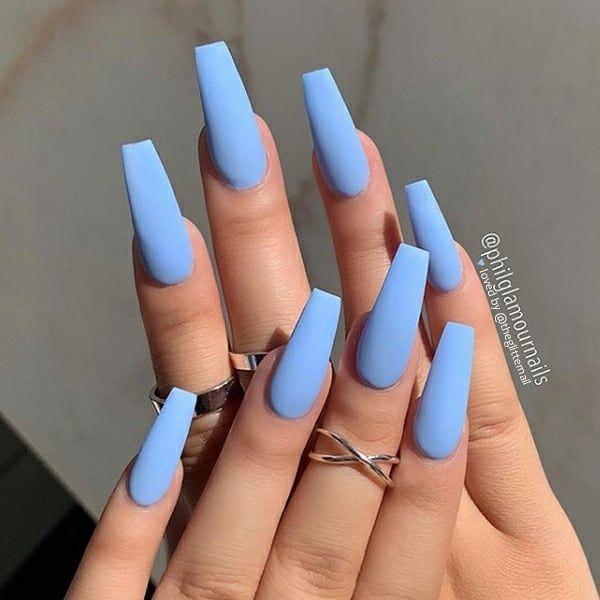 Theglitternail Get Inspired On Instagram Matte Sky Blue On Long Coffin Nails N Best Acrylic Nails Pretty Acrylic Nails Blue Acrylic Nails