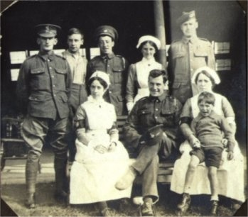 Luther Paxton (seated front centre) - 1916 - after being wounded in France