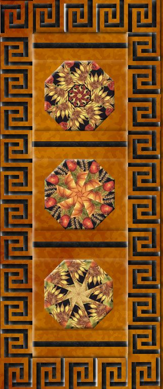 A Greek Key Symbol Border adorns the edges of this table runner. A bounty of autumn fruits like pumpkins and apples with Sunflowers and Leaves on a black ground with metallic accents. Kaleidoscopes cut from Quilting Treasures Autumn Glow with everything printed in stunning detail etched in gold.This includes 3 Pre cut 8 inch Kaleidoscope Blocks and the fabric and pattern to cut this 18 by 42 1/2 inch table runner. No batting or backing included.