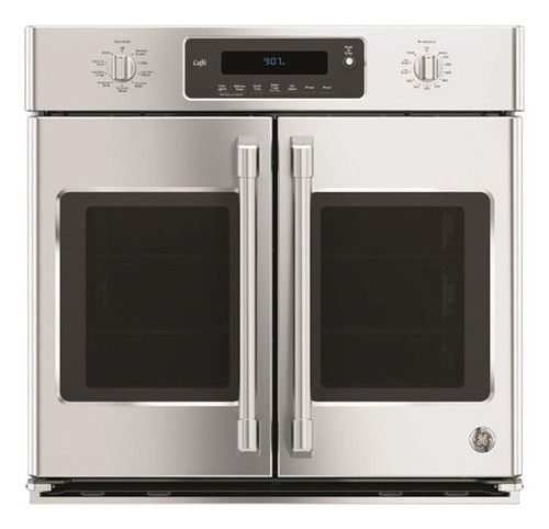"""GE - Cafe Series 30"""" Built-In Single Electric Convection Wall Oven - Stainless Steel - Larger Front"""