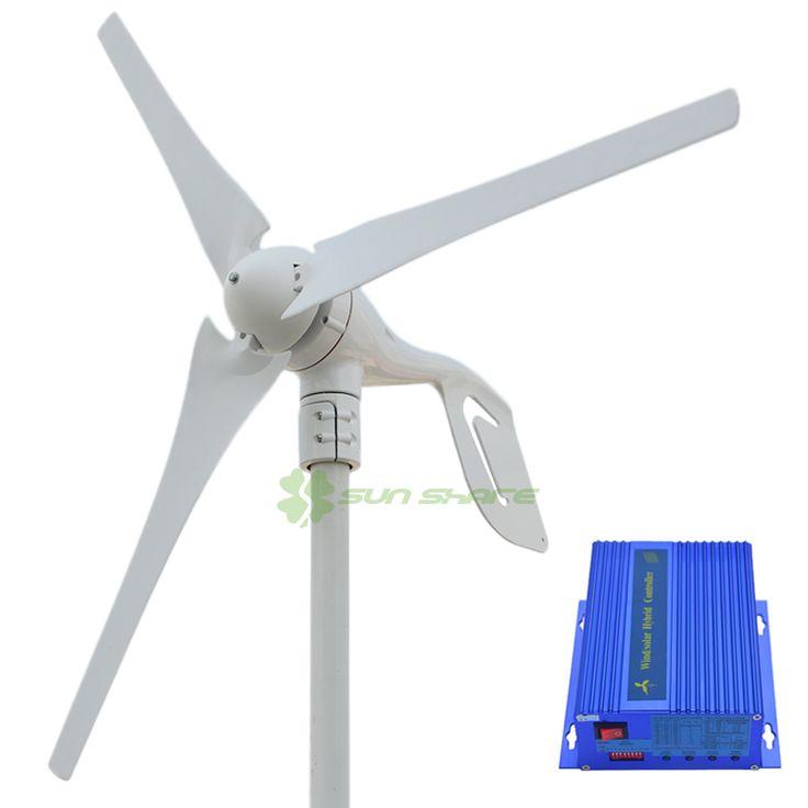 Envío libre pequeña turbina de viento máxima potencia de 600 w + 700 w viento regulador híbrido solar para (400 w generador de viento + 300 w panel solar)