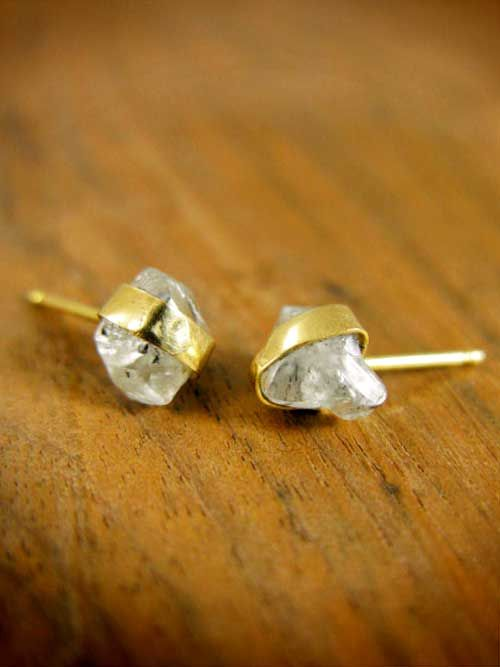 Gold Wrapped Raw Diamond Post Earrings.These are the most beautiful diamond earrings I've ever seen. I love the raw uncut shape.