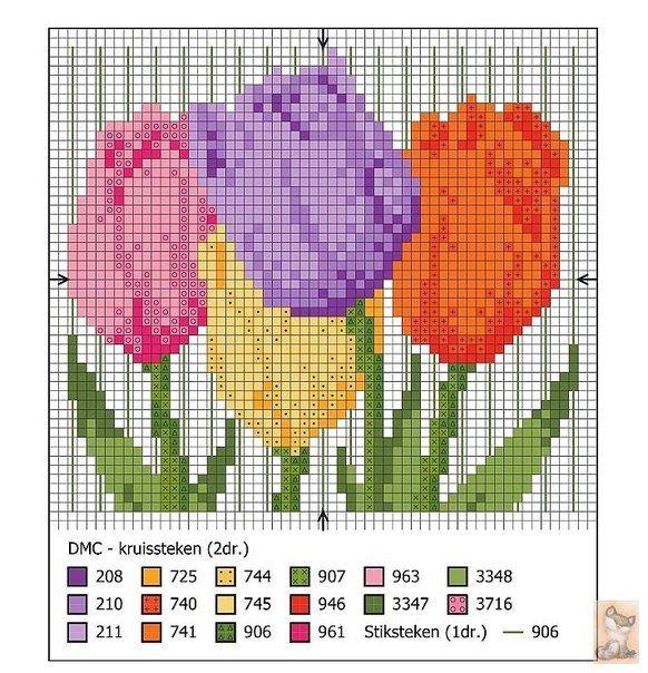 Bordados de tulipanes en punto de cruz03