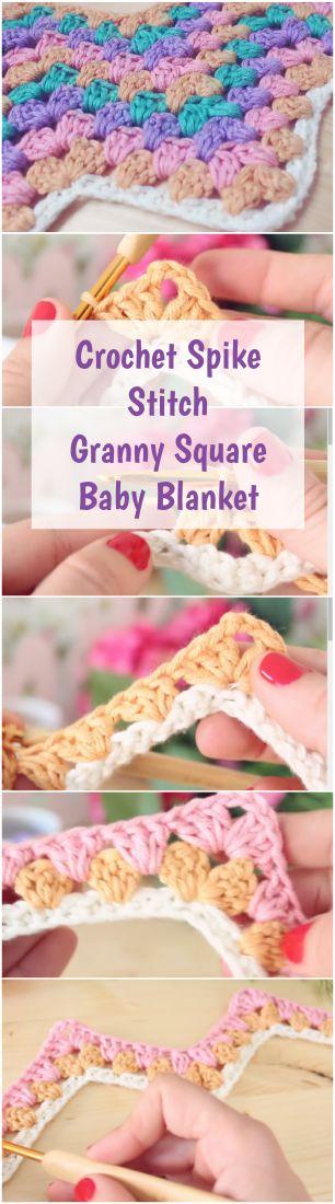 Crochet Spike Stitch Granny Square Baby Blanket