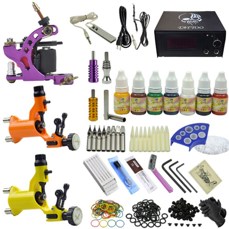 Complete complete tattoo kit Professional Tattoo Machine set with tattoo power needles ink supply aluminum grip Anti-scar cream
