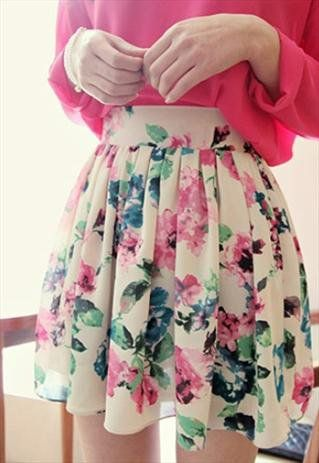 New floral print cream spring skater skirt from zamong-boutique