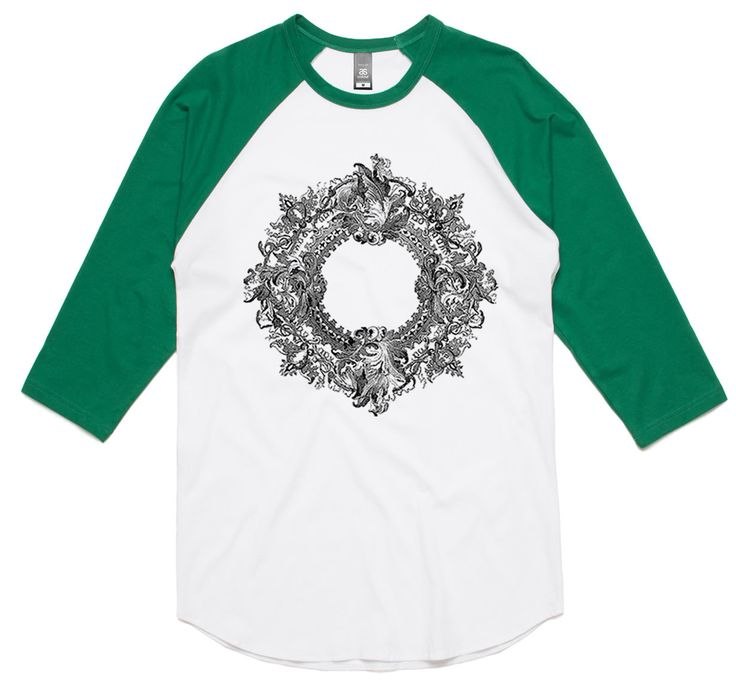 theIndie Ornate Frame (Black) 3/4-Sleeve Raglan Baseball T-Shirt