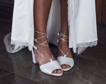 Bridal Espadrille Wedge Ivory and satin Designer von ForeverSoles