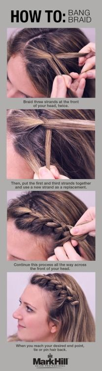 How to: Bang Braid Tutorial.  This look is so quick and cute. Try it out! - If you like this pin, repin it, like it, comment and follow our boards :-) #FastSimpleFitness