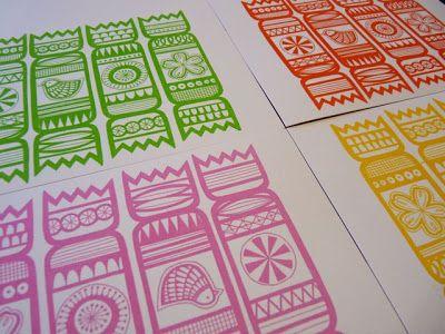 Jane Foster Blog: Screen printed Christmas Cracker cards