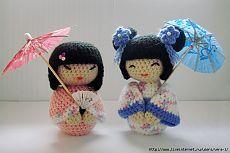 Куклы Кокеши амигуруми.