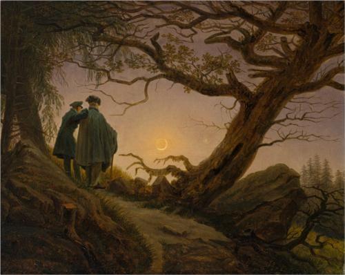 Two Men Contemplating the Moon - Caspar David Friedrich, c1825-1830