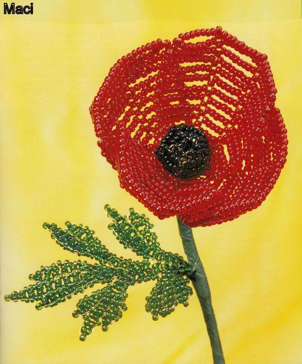 Flori decorative din margele II - Maci