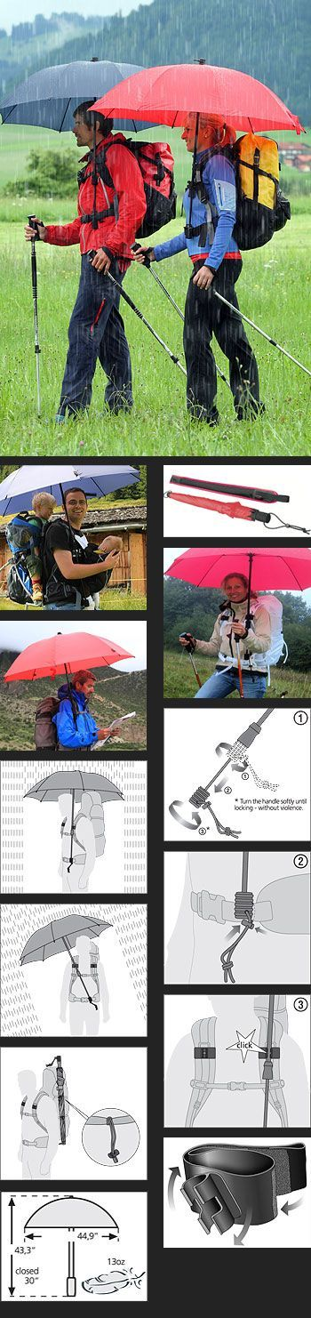 "Pretty Cool ""The first real handsfree backpack umbrella."" ""The innovative trekking umbrella is easily fastened to any standard backpack with hip belt and directed into the wind and rain. Both hands remain completely free which is ideal for walkers who don't want to go without trekking poles in the rain, either"":"