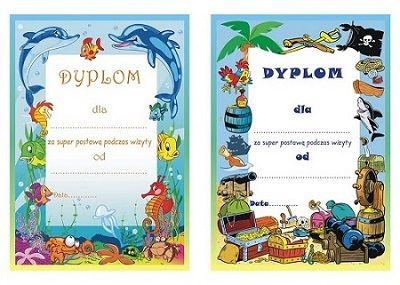 Dyplomy w wersji dla dziewczynek i chłopców za super postawę podczas wizyty