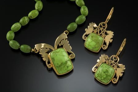 Green Turquoise Necklace and Earrings Set with 14K Gold