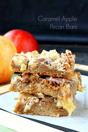 Caramel Apple Pecan bars start with cake mix