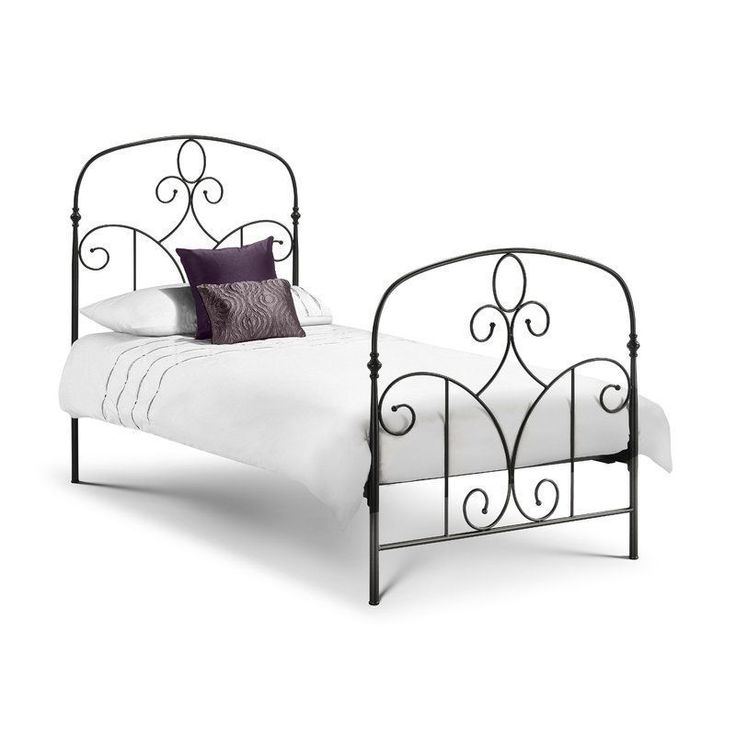 Metal Bed Frame Single Size Black Classic Design Headboard Bedroom Furniture