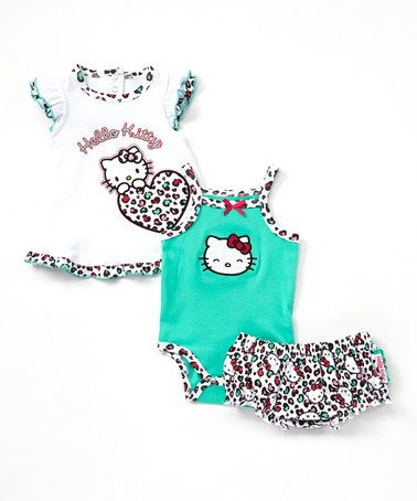 Another great find on #zulily! Green Leopard Hello Kitty Diaper Cover Set - Infant #zulilyfinds