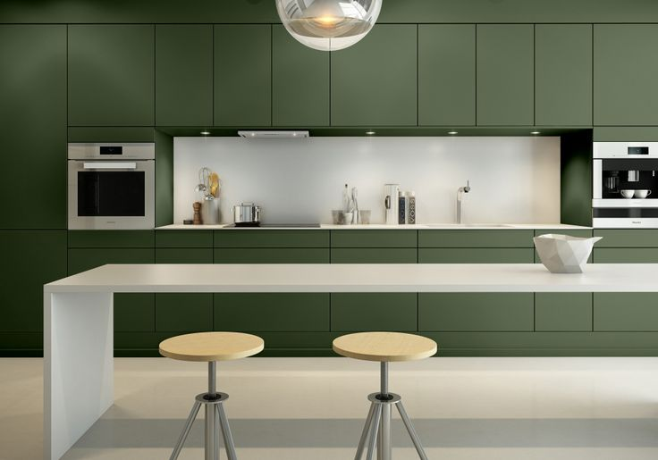 Sigdal kjøkken - Amfi Eik, Jotun Palmetto S5020 G30Y, åker og eng