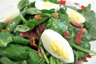 Wilted Spinach Salad with warm bacon dressing. Making this weekend for family!