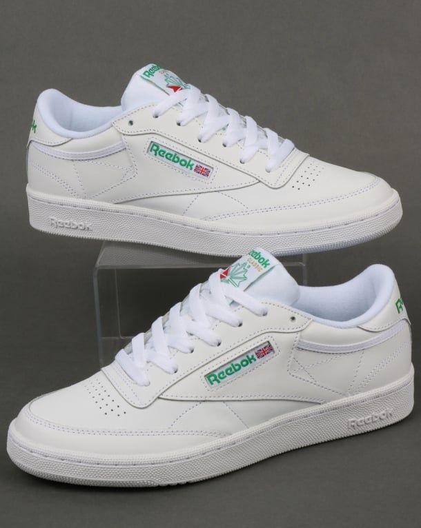 reebok classic green and white