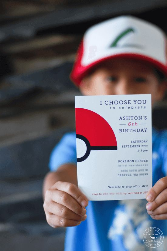 Modern Pokemon Party Invitation
