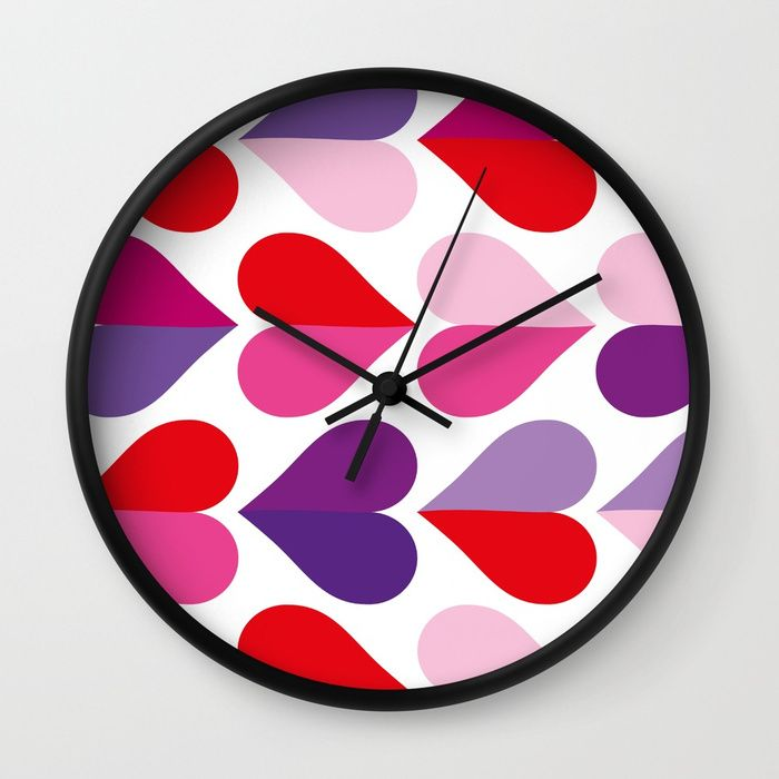 Love and Kisses in Ultra Violet Wall Clock by dominiquevari | Society6 #clack #wallclock #valentinesday #hearths #graphic #pattern #ultraviolet #giftidea #midcenturymodern #dominiquevari #society6