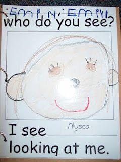 Class Book like Brown Bear, Brown Bear for our Eric Carle Week(Chalk Talk: A Kindergarten Blog)