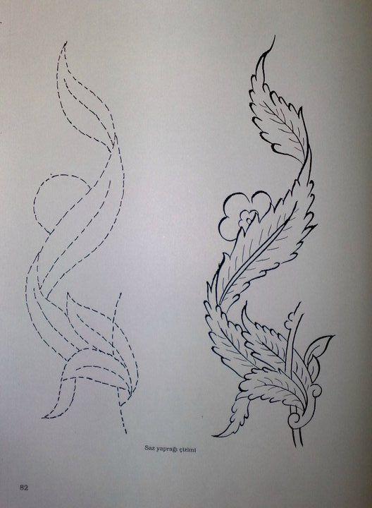 Saz Yolu Yaprak Çizimi. Saz Yolu, Kanuni Sultan Süleyman Dönemi'ne ait bir desendir.