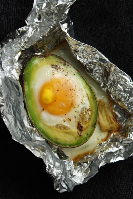 easy breakfast! 1 half of an avocado, pitted 1 egg Salt and