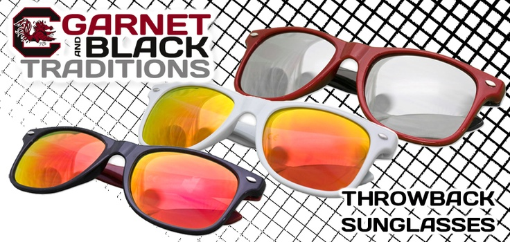 Fashionable, protective, and reflective... these retro Gamecock sunglasses will shade your eyes and show your Gamecock Pride! See them online here ►► http://shopgbt.com/gbtsunglasses #gamecocks