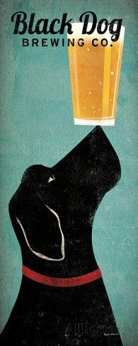 Reclameposter Black Dog Brewing Co. Kunst van Ryan Fowler bij AllPosters.nl