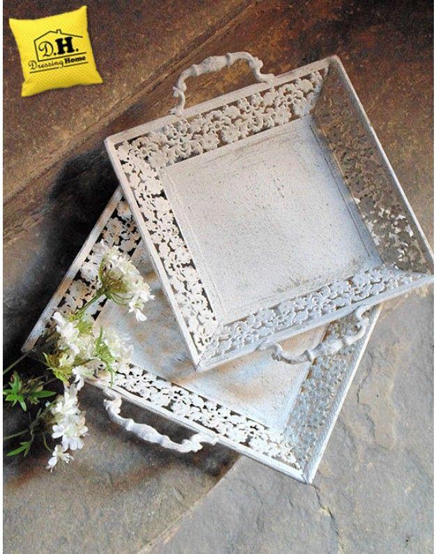 Vassoio di ferro Shabby chic Blanc Mariclo Quadrato Big