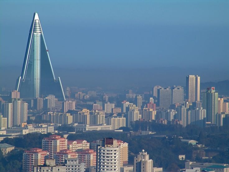 Pyongyang, North Korea. The Ryugyong Hotel is the large pyramidal structure on the left. Its history is fascinatingly bizarre.