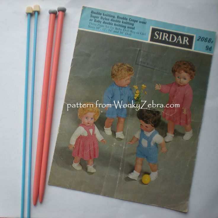 A slightly murky photo of vintage doll clothes pattern Sirdar 2068 for 10-16 inch dolls-with pretty vintage knitting needles to match.pattern PDF from WonkyZebra WZs clothes172