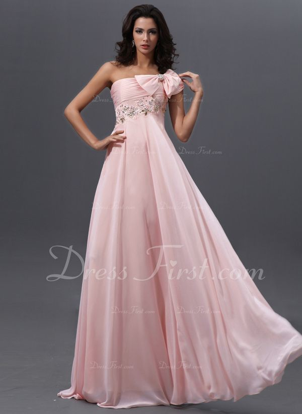 Empire One-Shoulder Floor-Length Chiffon Prom Dress With Ruffle Lace Beading (018022744) - DressFirst